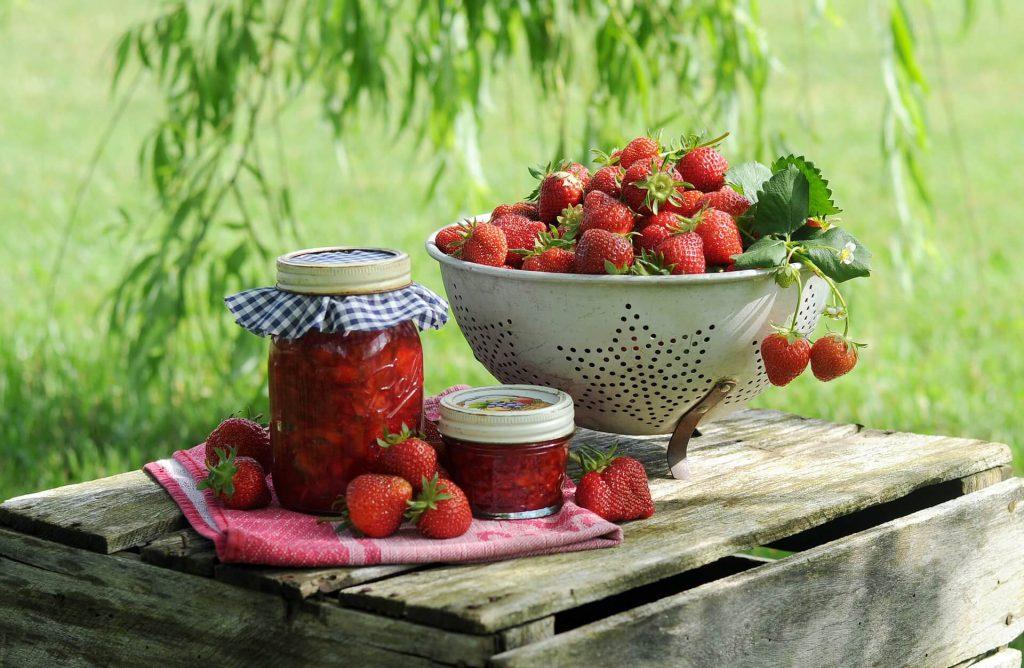 Erdbeeren vom Bodensee angerichtet
